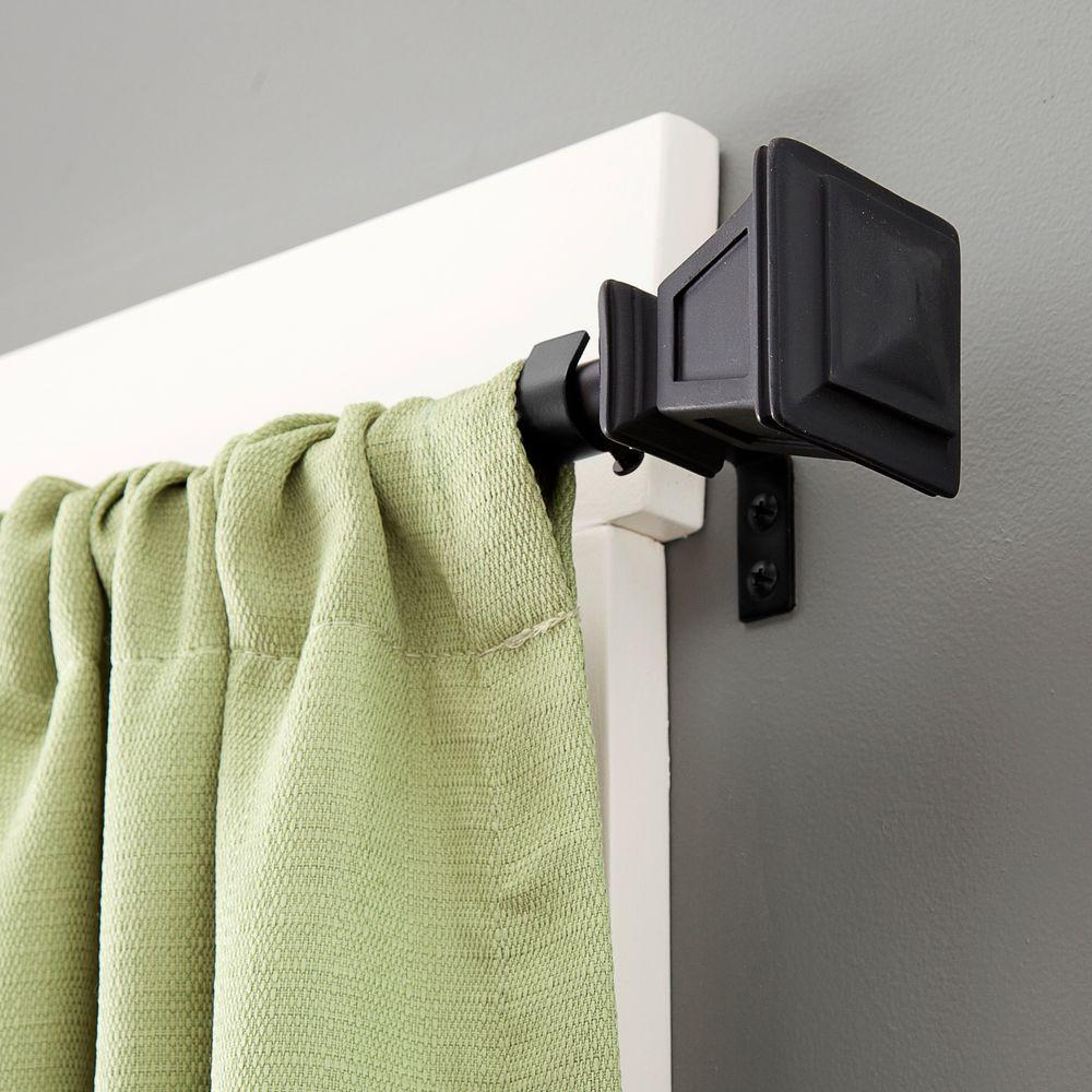 Kenney Seville 28 in. - 48 in. Telescoping 5/8 in. Curtain Rod Kit in Matte Black with Finial