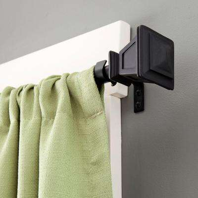 Seville 28 in. - 48 in. Telescoping 5/8 in. Curtain Rod Kit in Matte Black with Finial