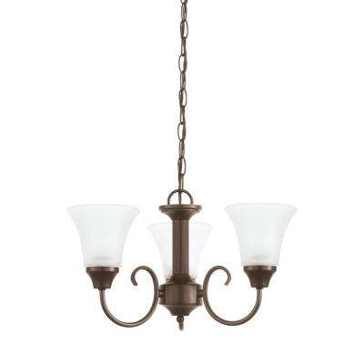 Holman 3-Light Bell Metal Bronze Chandelier with LED Bulbs
