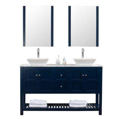 Manhattan 60 in. W x 18 in. D Bath Vanity in Navy with Marble Vanity Top in White with White Basin and Mirror