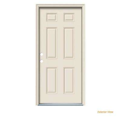 32 in. x 80 in. 6-Panel Primed Steel Prehung Right-Hand Inswing Front Door w/Brickmould