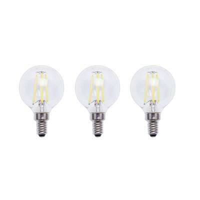 40-Watt Equivalent G16.5 E12 Base Dimmable Clear Filament Vintage Style LED Light Bulb, Soft White (3-Pack)