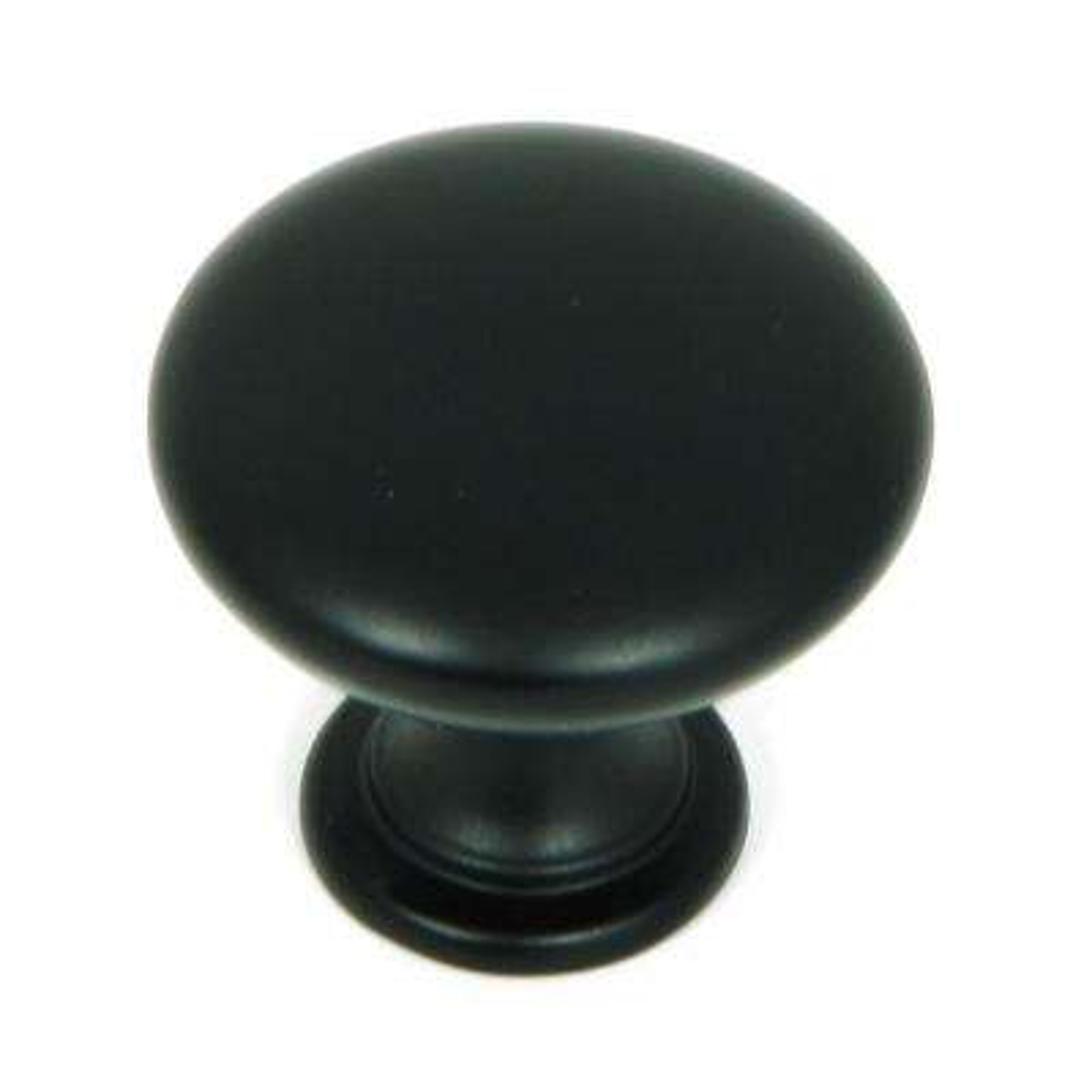 1.25 In. Matte Black Round Cabinet Knob