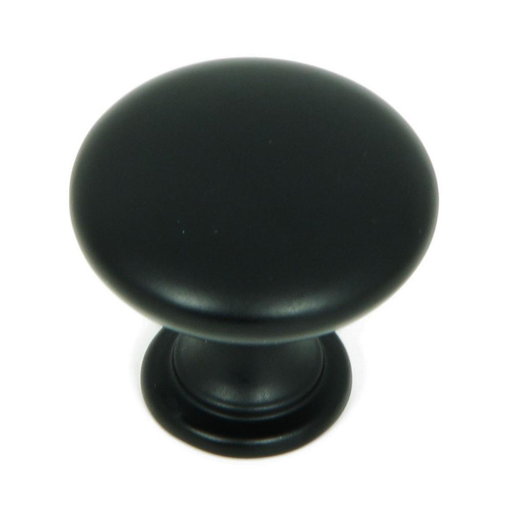 1.25 in. Matte Black Round Cabinet Knob (Pack of 10)