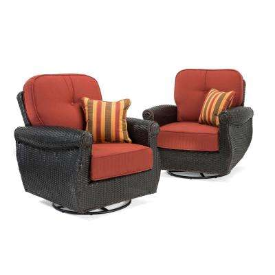 Breckenridge Swivel Wicker Outdoor Lounge Chair with Sunbrella Meredian Brick Cushion (2-Pack)