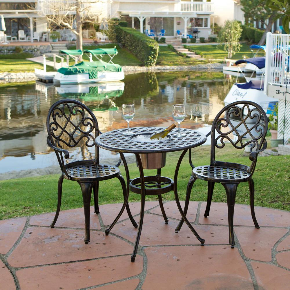 Le House Angeles Copper 3 Piece Aluminum Outdoor Bistro Set And Ice Bucket