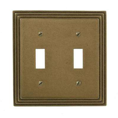 Steps 2-Gang Toggle Wall Plate - Rustic Brass