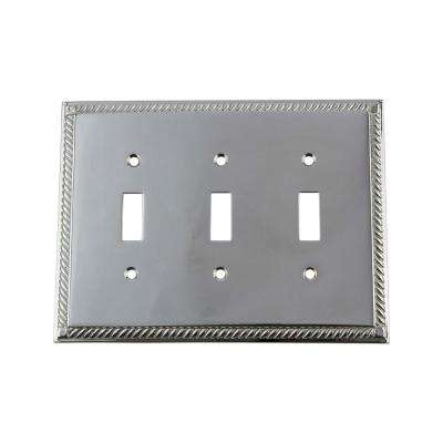 Rope Switch Plate with Triple Toggle in Bright Chrome