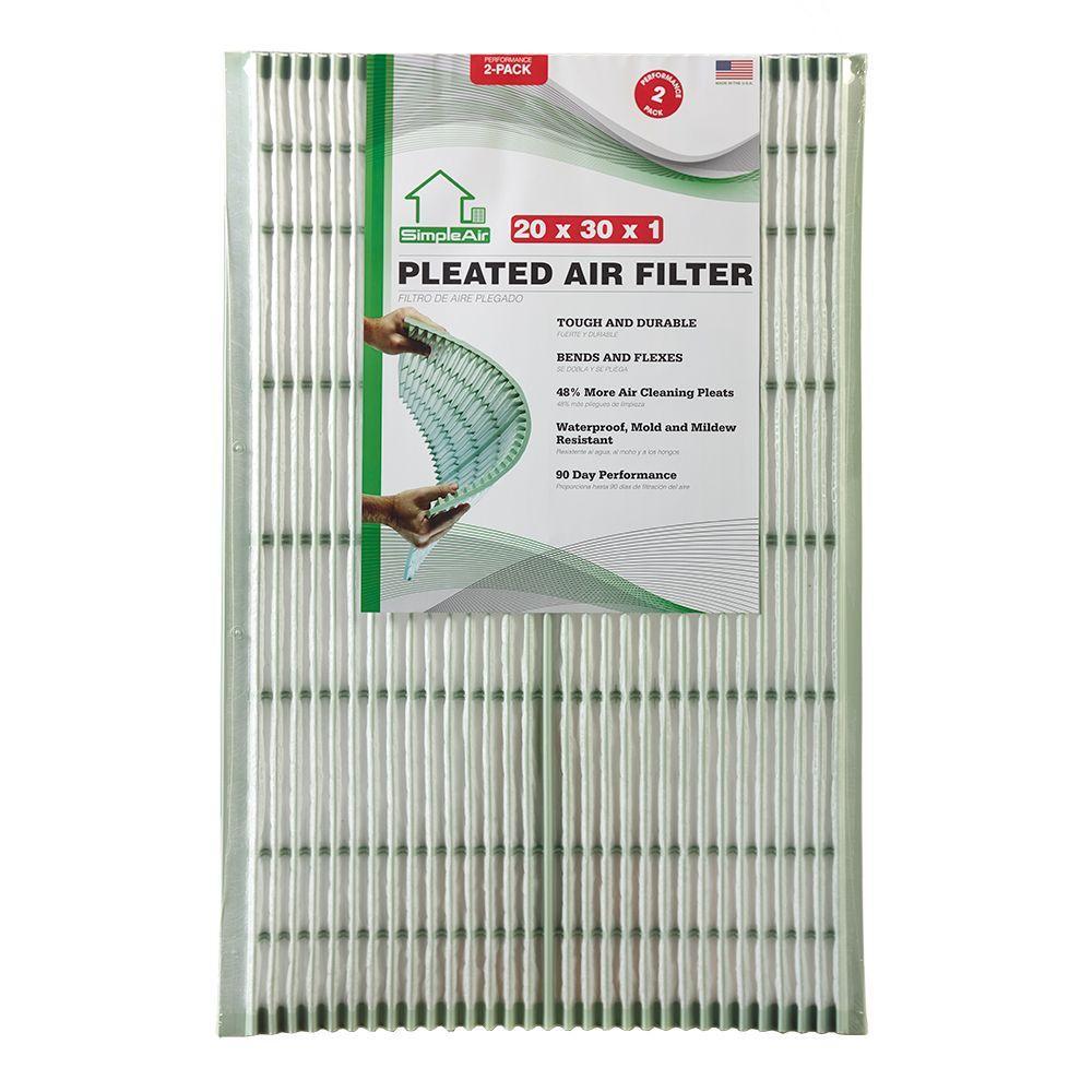 SimpleAir SimpleAir 20 in. x 30 in. x 1 in. Pleated FPR 6 Air Filter (2-Pack)