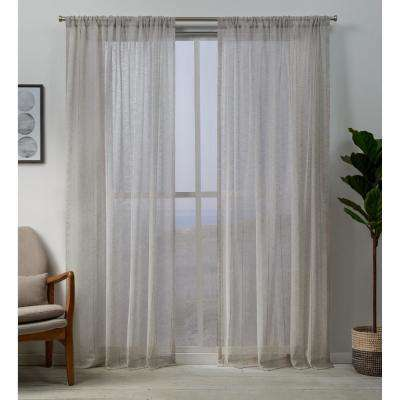 Hemstitch Sheer Embellished Rod Pocket Top Curtain Panel Pair in Linen - 54 in. W x 96 in. L (2-Panel)