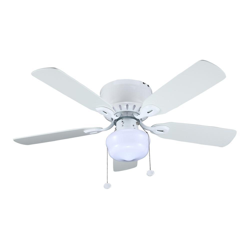 Littleton 42 In Indoor Ceiling Fan White With Led Light Kit Reversible Blades Ceiling Fans Home Garden