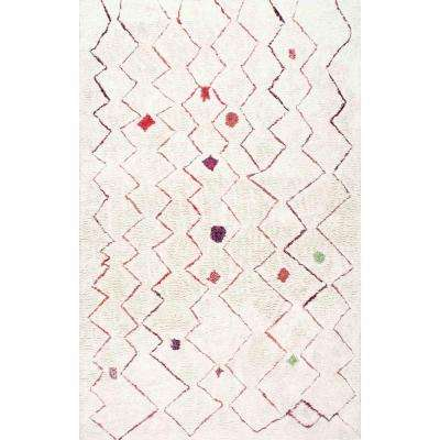 Ninfa Moroccan Shag Red 5 ft. x 5 ft. Round Rug