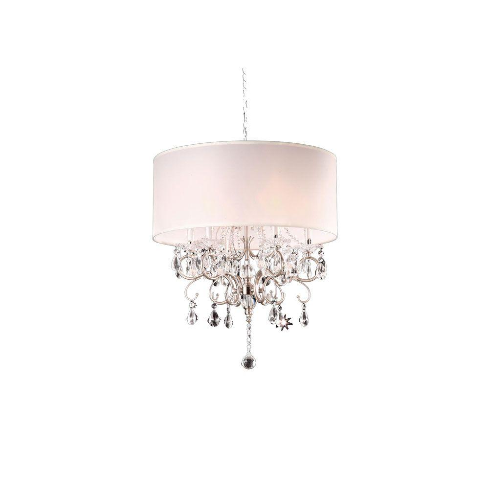 Ok Lighting 6 Light Silver Crystal Chandelier