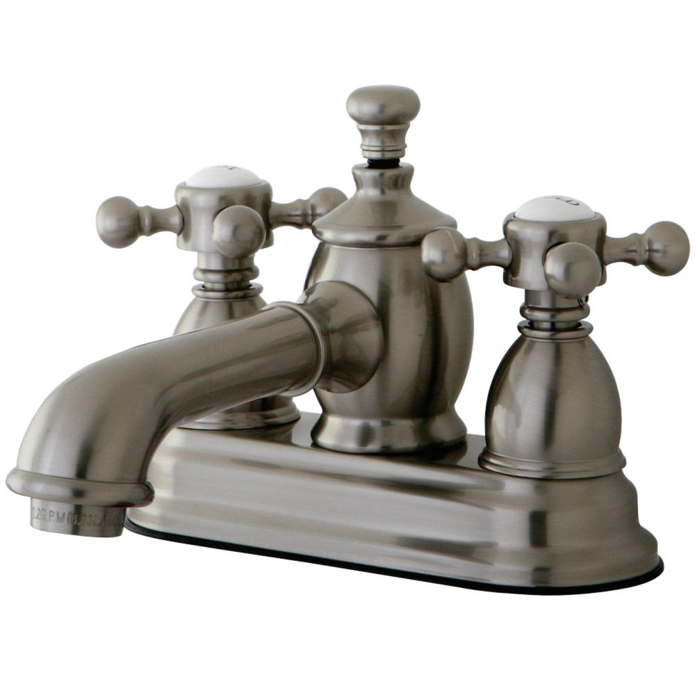 Kingston Brass English Country 4 in. Centerset 2-Handle Bathroom Faucet in Brushed Nickel