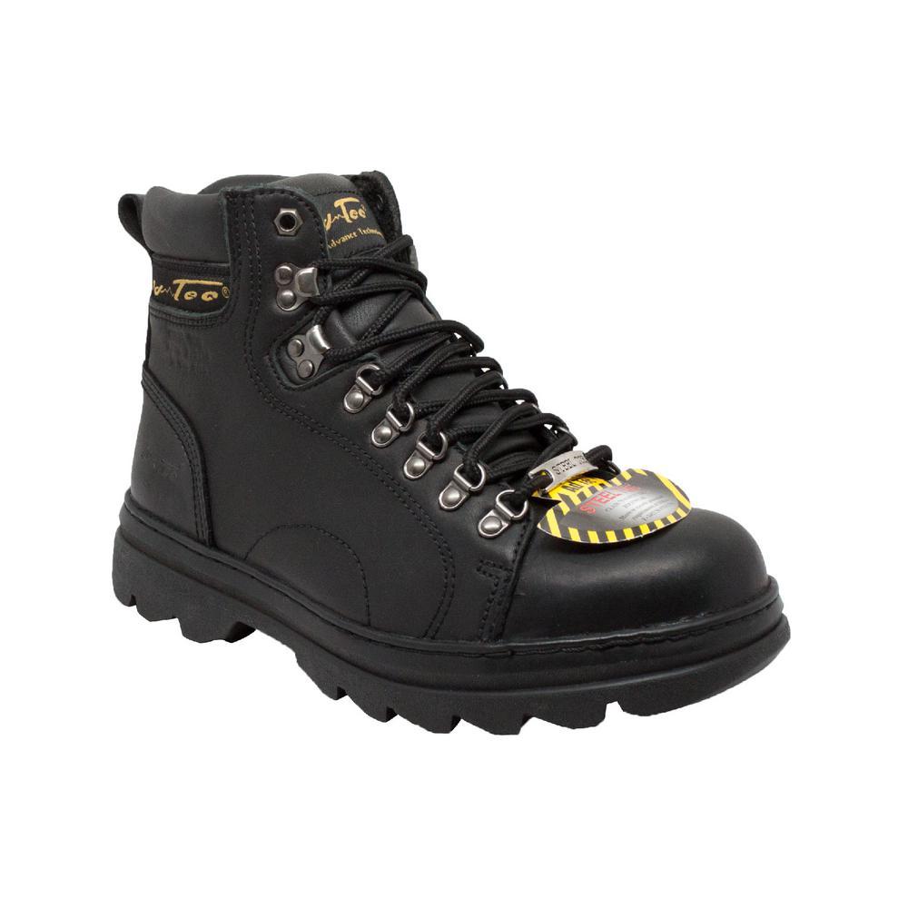 Adtech Mens Wide 8 Black Leather Steel Toe Hiker Boot