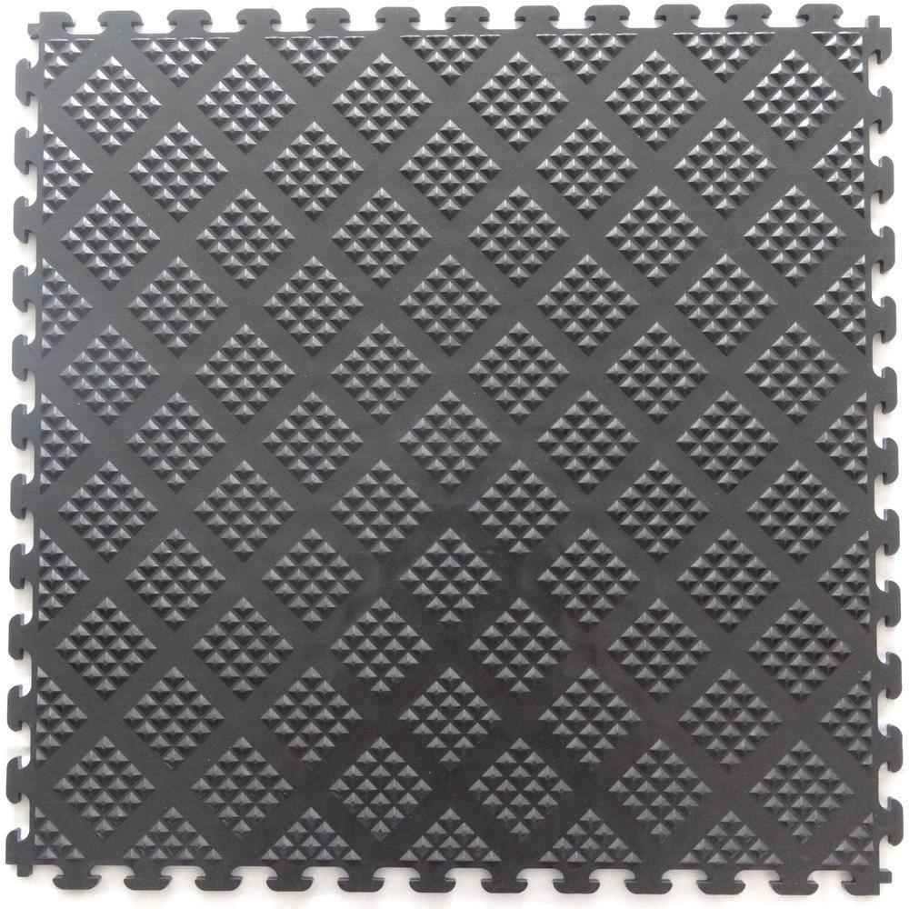 Multi-Purpose 18.3 in. x 18.3 in. Metallic Pewter PVC Garage Flooring
