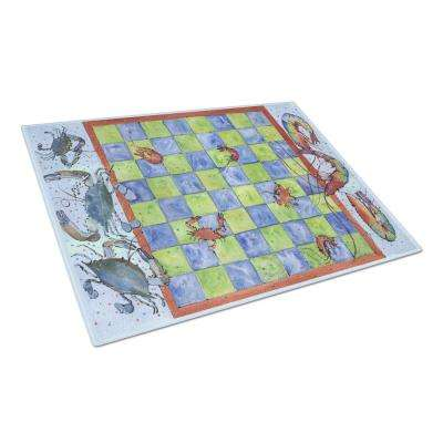 Crab and Shrimp Checkerboard Tempered Glass Large Heat Resistant Cutting Board