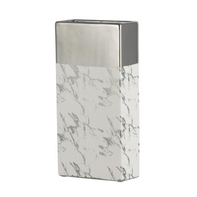 Modern Chic Silver and White Tall Ceramic Vase