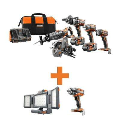18-Volt Lithium-Ion Cordless 5-Tool Combo w/Bonus Hybrid Folding Panel Light & OCTANE Brushless Impact Wrench