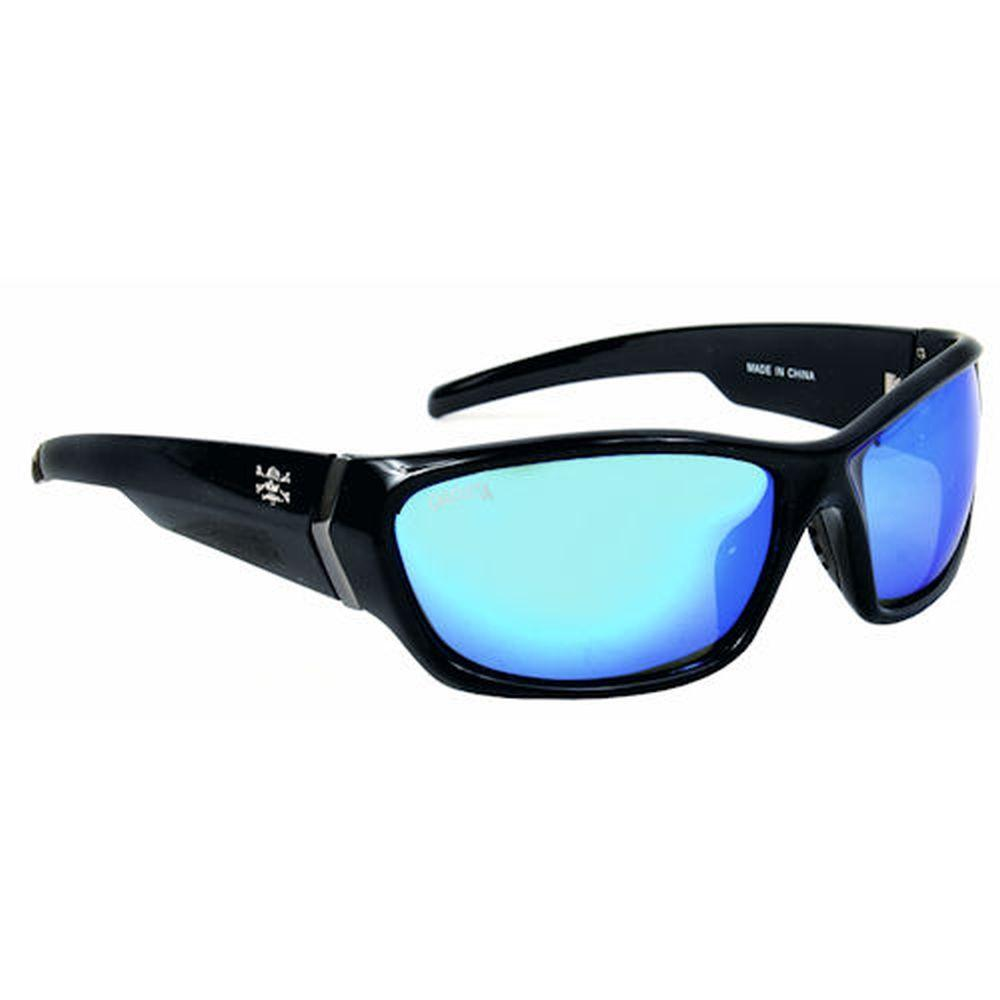 null Black Frame Islander Sunglasses with Blue Mirror Lenses