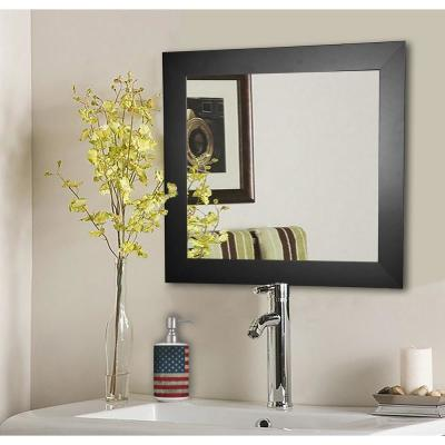 35.5 in. x 35.5 in. Black Satin Wide Square Vanity Wall Mirror