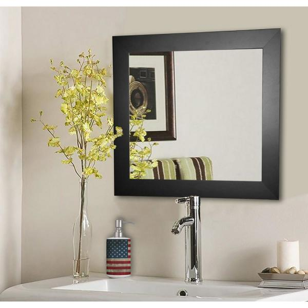 17.5 in. x 17.5 in. Black Satin Wide Square Vanity Wall