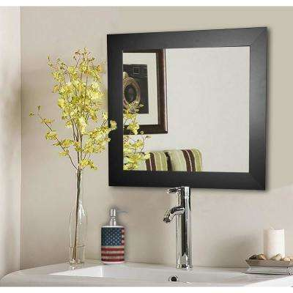 17.5 in. x 17.5 in. Black Satin Wide Square Vanity Wall Mirror