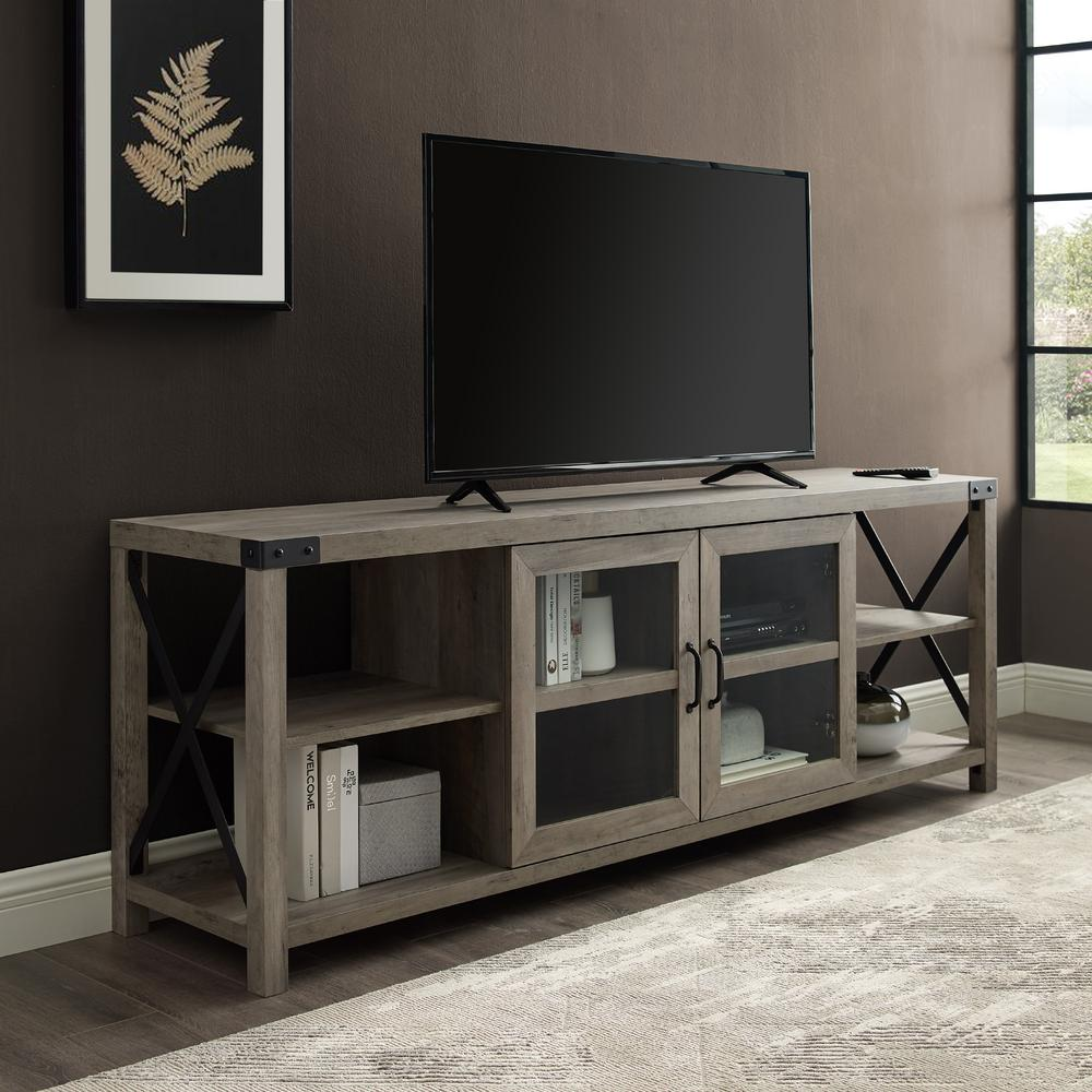 70 in. Grey Wash Composite TV Stand Fits TVs Up to 78 in. with Storage Doors