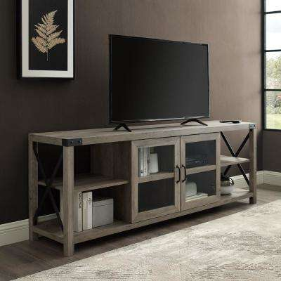Farmhouse Grey Wash TV Stand For TV's Up to 78 in.