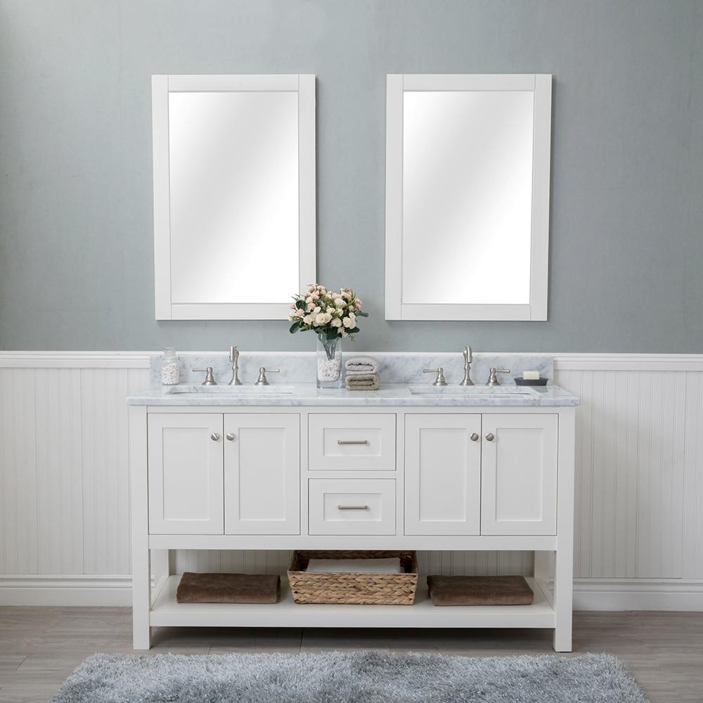 Alya Bath Wilmington 60 in. W x 22 in. D Vanity in Linen White with ...