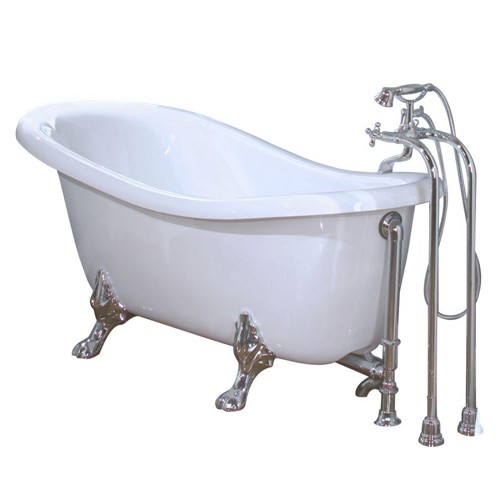 MAAX Moment 5.5 ft. Acrylic Claw Foot Oval Tub with Chrome Feet