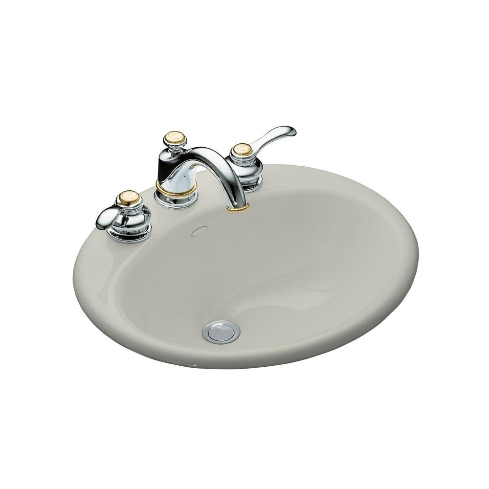 Farmington Drop-In Cast Iron Bathroom Sink in Ice Grey with Overflow