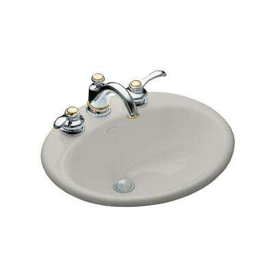 Farmington Drop-In Cast Iron Bathroom Sink in Ice Grey with Overflow Drain