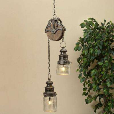 47 in. H Silver Metal Pulley Lantern