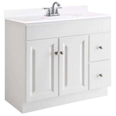 Wyndham 36 in. W x 18 in. D Unassembled Vanity Cabinet Only in White Semi-Gloss