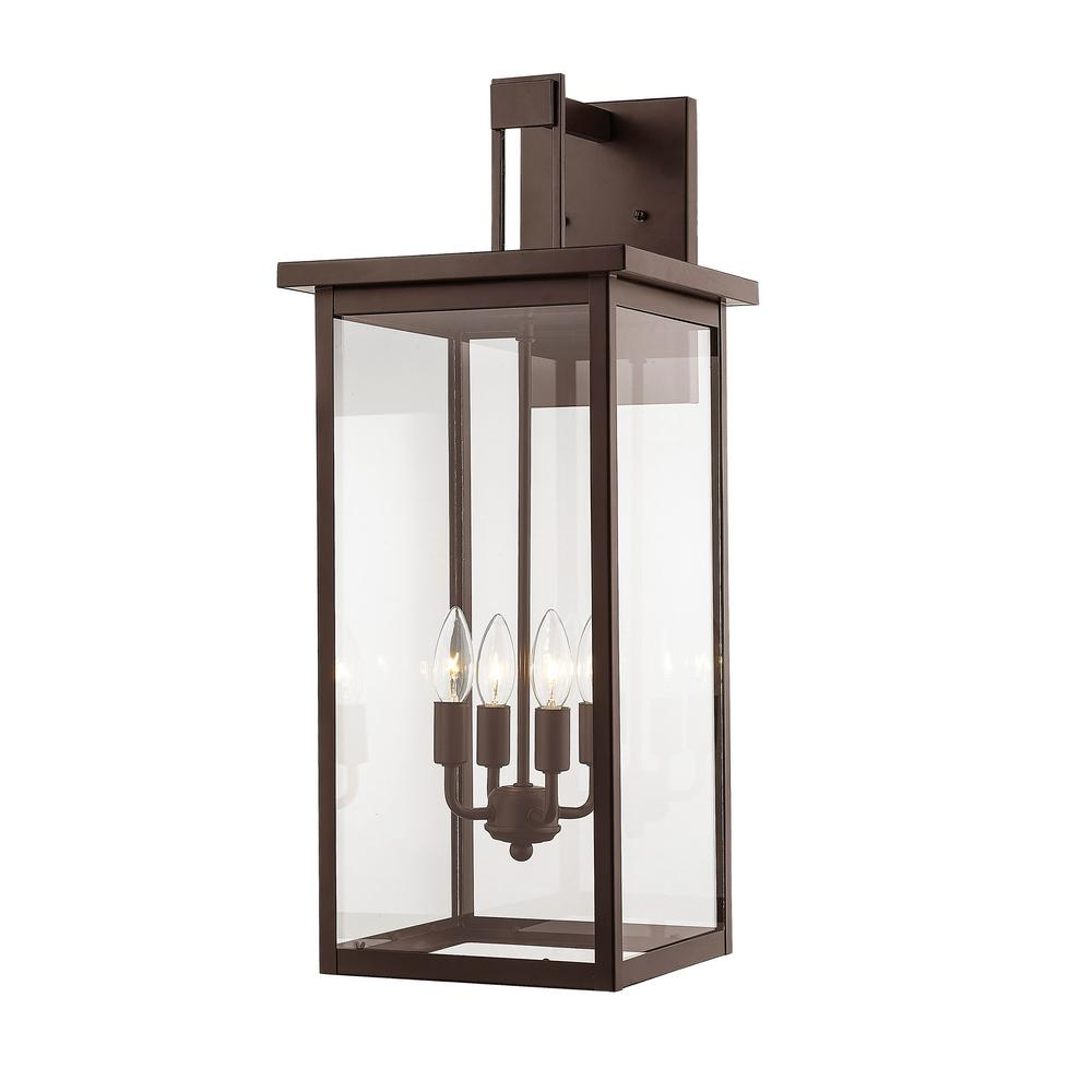 Millennium Lighting 27 in. 4-Light Powder Coat Bronze Outdoor Wall-Light Sconce with Clear Glass