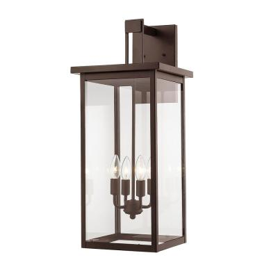 27 in. 4-Light Powder Coat Bronze Outdoor Wall-Light Sconce with Clear Glass