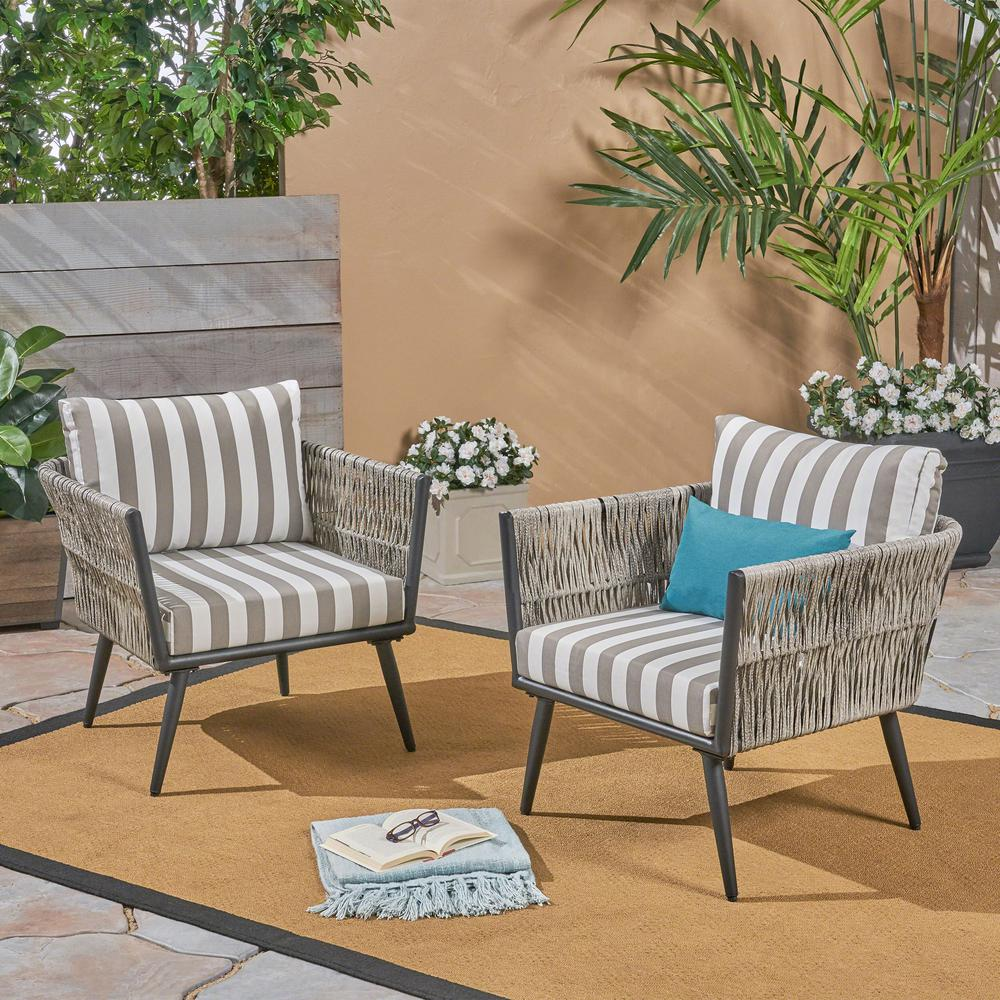 Phenomenal Noble House Oceanus Black Aluminum And Light Gray Wicker Armed Outdoor Lounge Chair With Striped Gray And White Cushions 2 Pack Pabps2019 Chair Design Images Pabps2019Com
