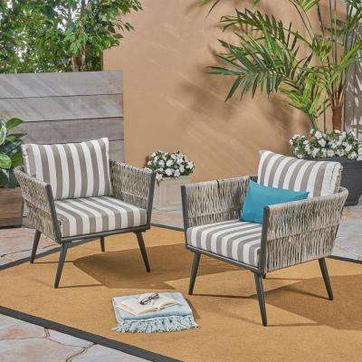 Oceanus Black Aluminum and Light Gray Wicker Armed Outdoor Lounge Chair with Striped Gray and White Cushions (2-Pack)