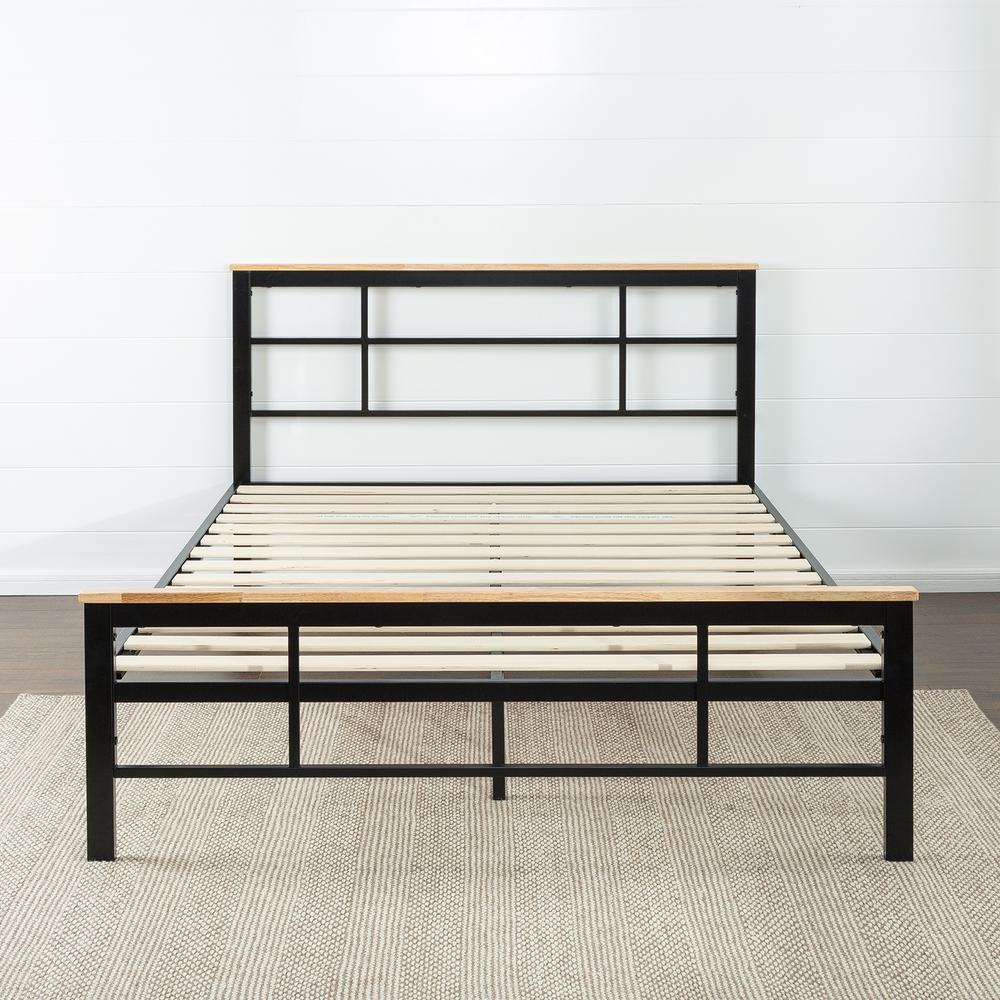 Zinus Urban Metal and Wood Black Twin Platform Bed Frame-HD-HBPBC ...