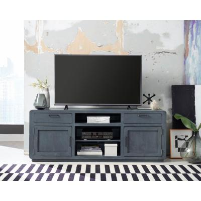 Allure 74 in. Blue Lagoon Wood TV Stand with 2 Drawer Fits TVs Up to 80 in. with Storage Doors
