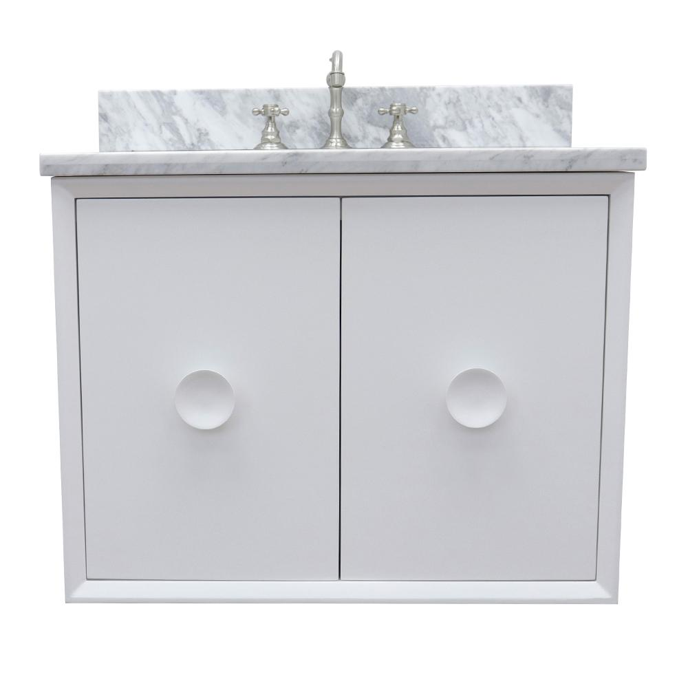 Bellaterra Home Stora 31 in. W x 22 in. D Wall Mount Bath Vanity in White with Marble Vanity Top in White with White Oval Basin