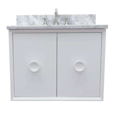Stora 31 in. W x 22 in. D Wall Mount Bath Vanity in White with Marble Vanity Top in White with White Oval Basin