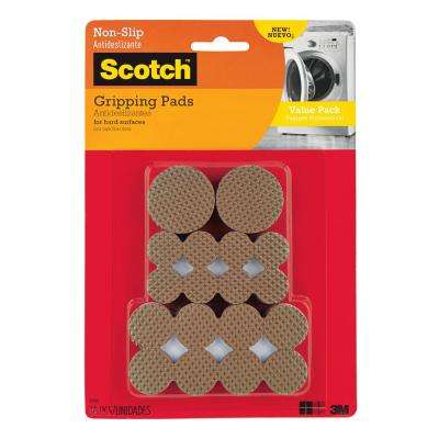 Scotch Multi Size Brown Round Hard Surface Gripping Pads Value Pack (36-Pack)