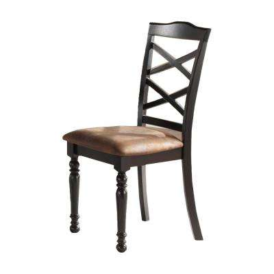Brown and Black Wooden-Leatherette Side Chair (Set of 2)