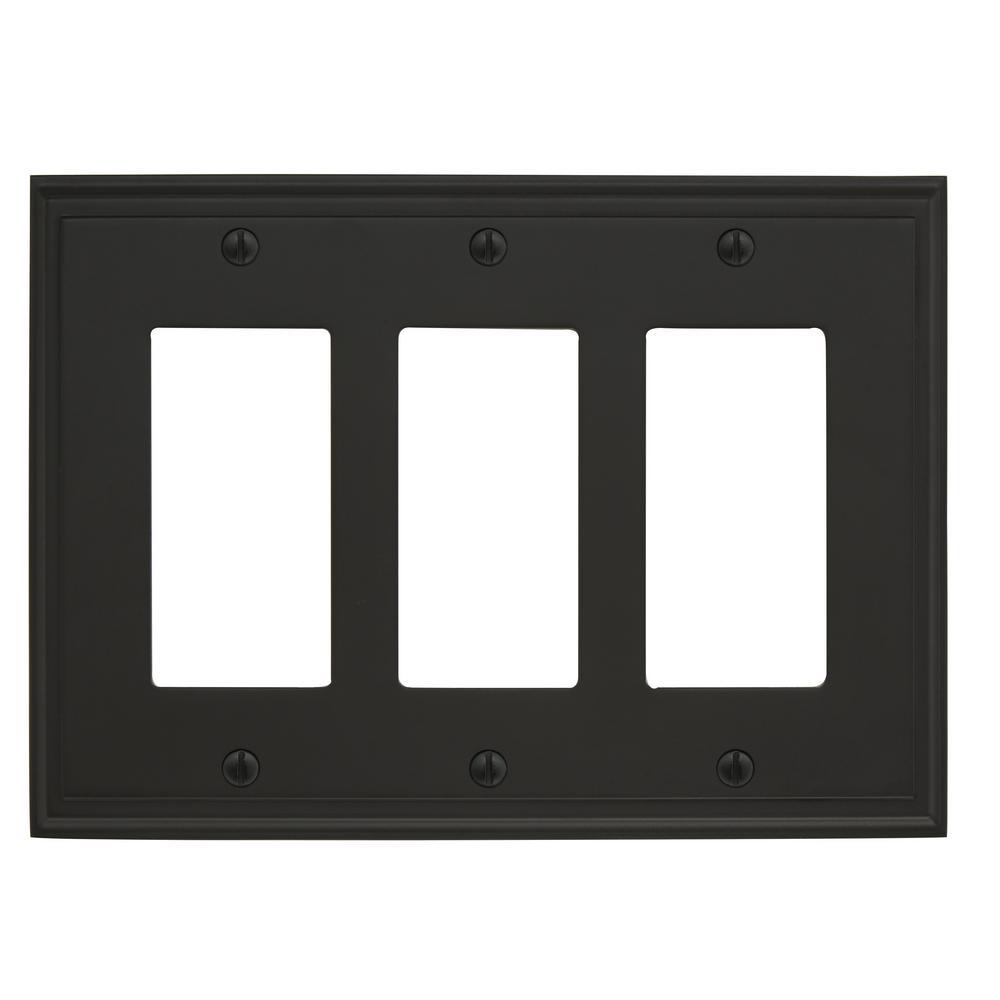 Mulholland 3-Rocker Wall Plate, Black Bronze
