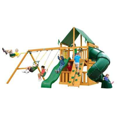 Mountaineer Clubhouse Swing Set with Amber Posts and Deluxe Green Vinyl Canopy