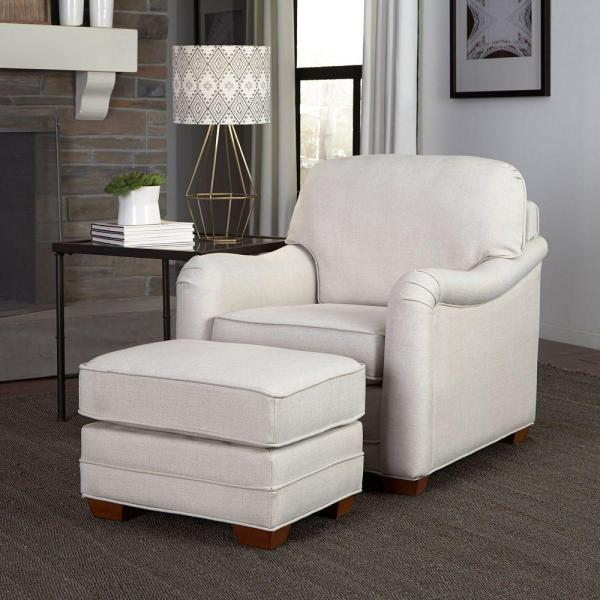 HOMESTYLES Heather Off-White Arm Chair with Ottoman 5205-100 ...