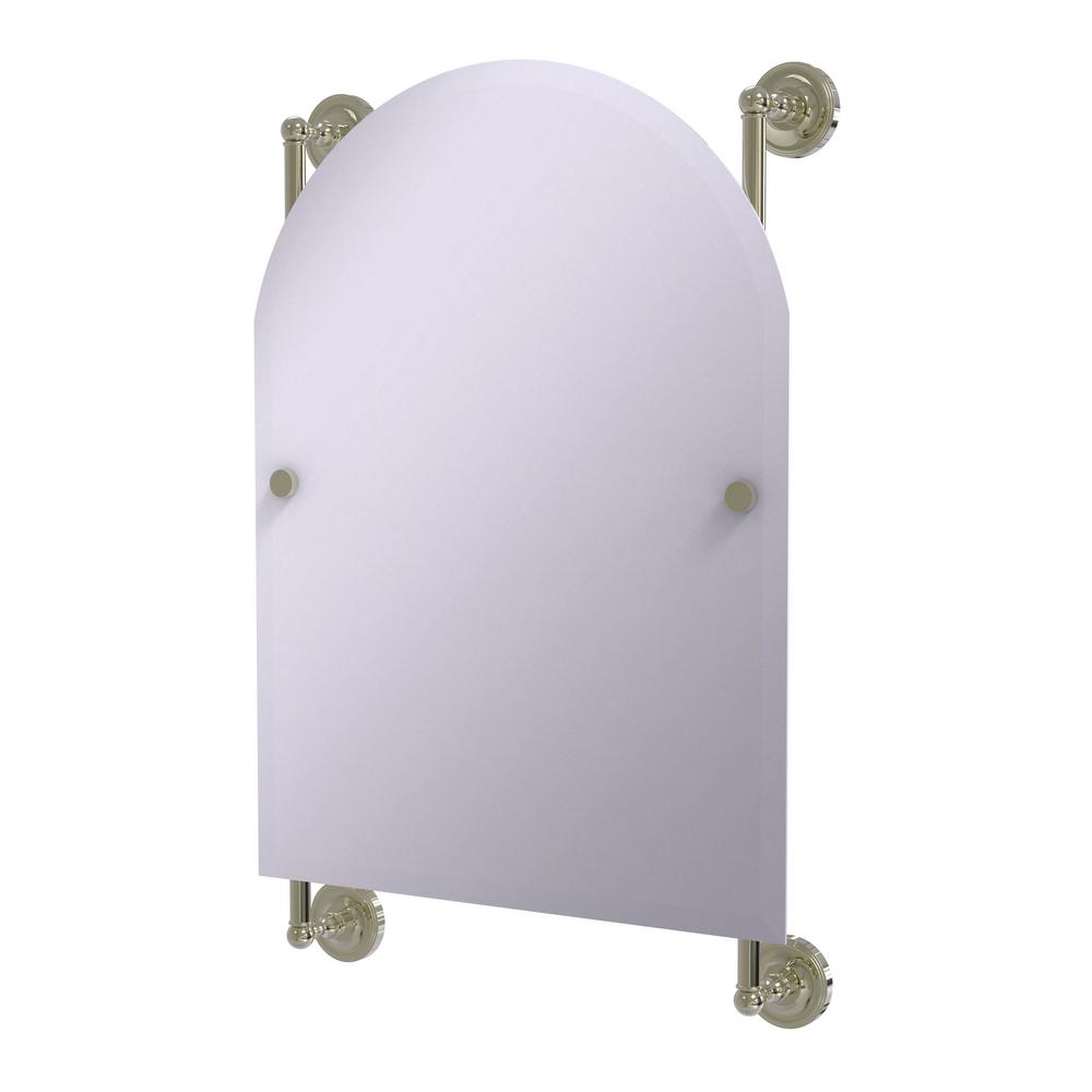 Allied Brass Prestige Regal 21 in. x 29 in. Single Arched Top Frameless Rail Mounted Mirror in Polished Nickel
