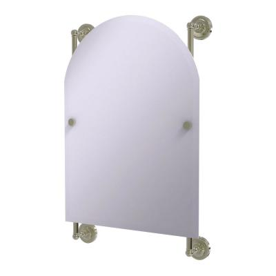 Prestige Regal 21 in. x 29 in. Single Arched Top Frameless Rail Mounted Mirror in Polished Nickel